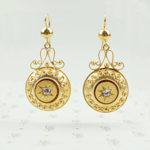 long gold filled victorian drop earrings