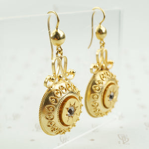 long gold filled victorian drop earrings with paste stone