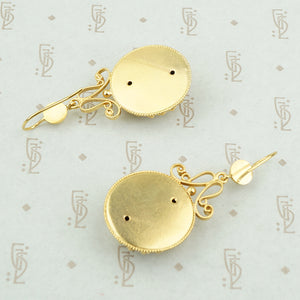 long gold filled victorian drop earrings back view