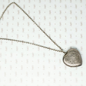 sterling silver heart shaped powder box pendant on chain