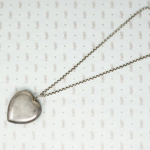sterling silver heart shaped powder box pendant on chain back view