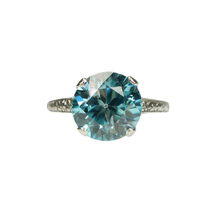 Vintage Natural Blue Zircon Solitaire in Platinum