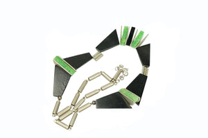 Bauhaus Green and Black Galalith and Chrome Necklace