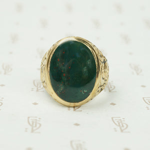 Large Bloodstone and Gold Ring London 1867