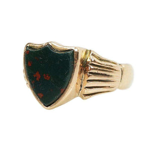 Gold Signet Ring set with a Shield shaped Bloodstone