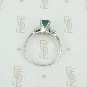emerald cut aquamarine with baguette diamond sides in platinum top view