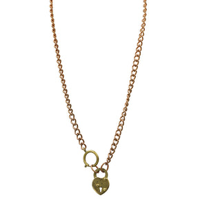The Brass Heart Necklace from the Love Lock Collection - Gem Set Love