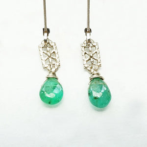 Emerald & White Gold Filigree Earrings by brunet