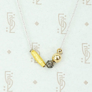 Gold and Diamond Bead Necklace by brunet