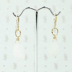 Romantic Moonstone and Hand Wrought Gold Earrings by Brunet