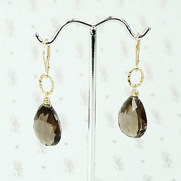 Smokey Quartz Earrings with Handmade Gold Details by brunet