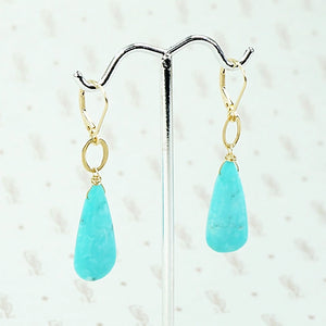 Vibrant Turquoise and Gold Earrings by brunet