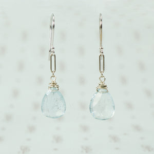 recycled white gold and aquamarine ear drops