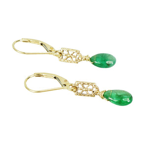 recycled gold and emerald drop earrings