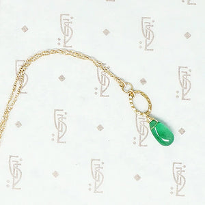 14k recycled gold and emerald drop necklace