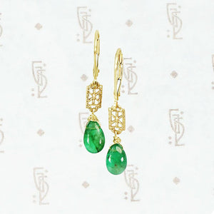Emerald Drop Earrings in Gold by brunet