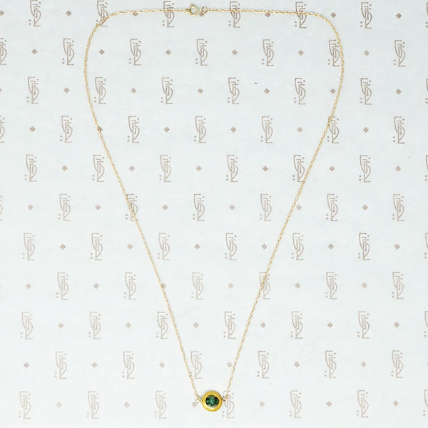 artisan necklace emeralds and recycled gold