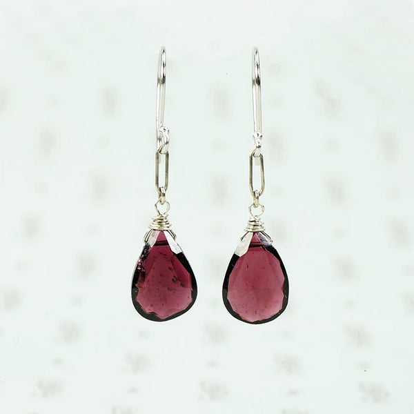 faceted garnet drop earrings in 14k recycled white gold