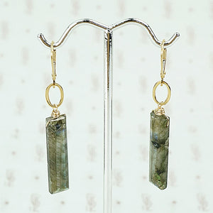Long labordorite and gold earrings Artisan