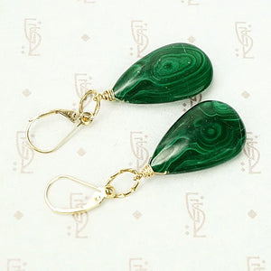 Dimpled Gold Malachite Drop Earrings by brunet