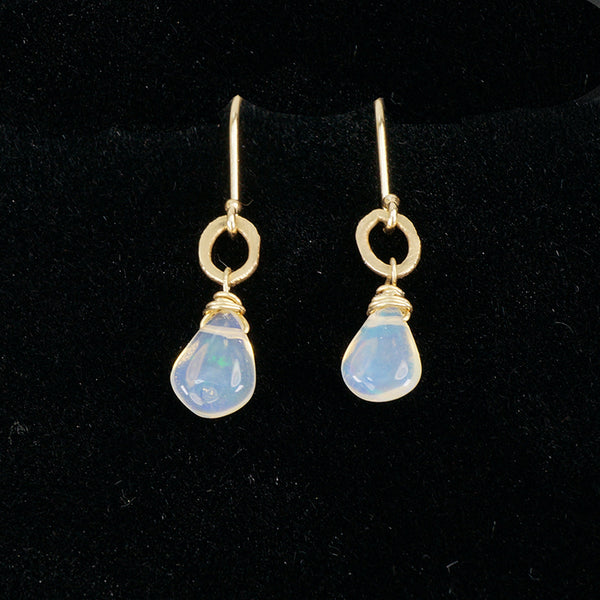 recycled gold and opal drop earrings
