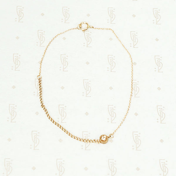 The Rose Gold Curb and Diamond Bracelet by brunet