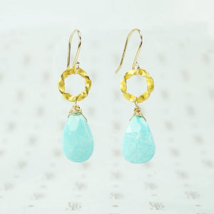 gold and faceted turquoise drop earrings