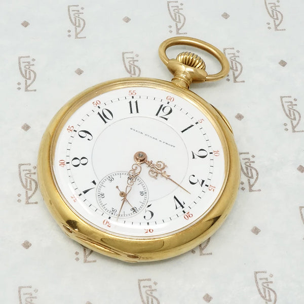 black starr and frost 18k gold pocket watch