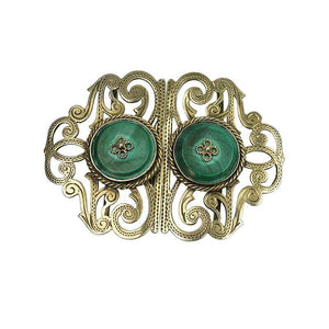 English Hallmarked Edwadian Silver Gilt Buckle set with Malachite
