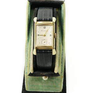 Fancy Lug 1940's 14k Yellow Gold Bulova Tank Wrist Watch
