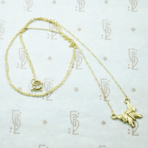 recycled 14k yellow gold butterfly necklace
