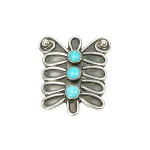 Vintage 70s Sterling and Turquoise Native American Butterfly Ring