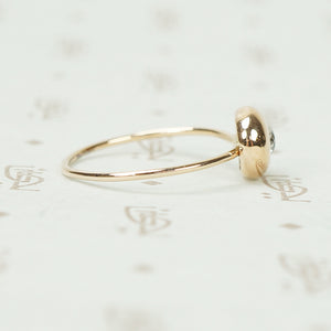 Rose Gold Dome Diamond Button Ring