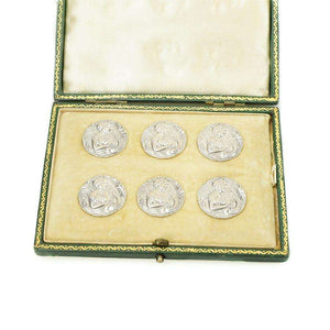 Art Nouveau boxed set of  Sterling Silver Buttons