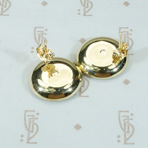 Mother of Pearl and Gold Button Stud Earrings
