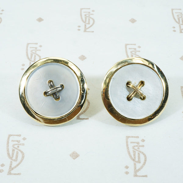 fun 1950's mother of pearl button stud earrings in 14k yellow gold