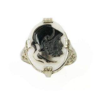 Hard stone Cameo Ring set in 14k White Gold Filigree