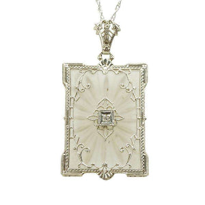 Picture Perfect Camphor Glass and Filigree 1920's Pendant