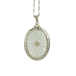 Deco White Gold Camphor Glass Necklace
