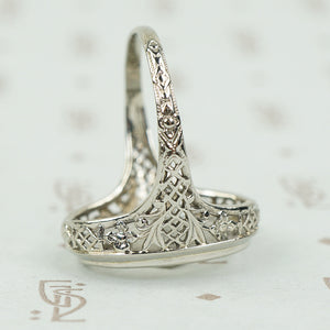 Deco Filigree White Gold Camphor Glass Ring