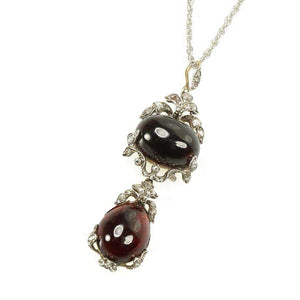 Antique Carbuncle Garnet and Rose Cut Diamond Pendant with Locket Back