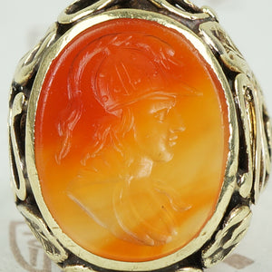 Sensational Carnelian Intaglio Ring with Snakes