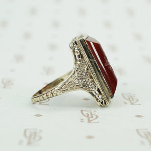 carved carnelian in white gold filigree ring circa 1920's side view