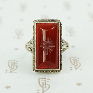 carved carnelian in white gold filigree ring circa 1920's