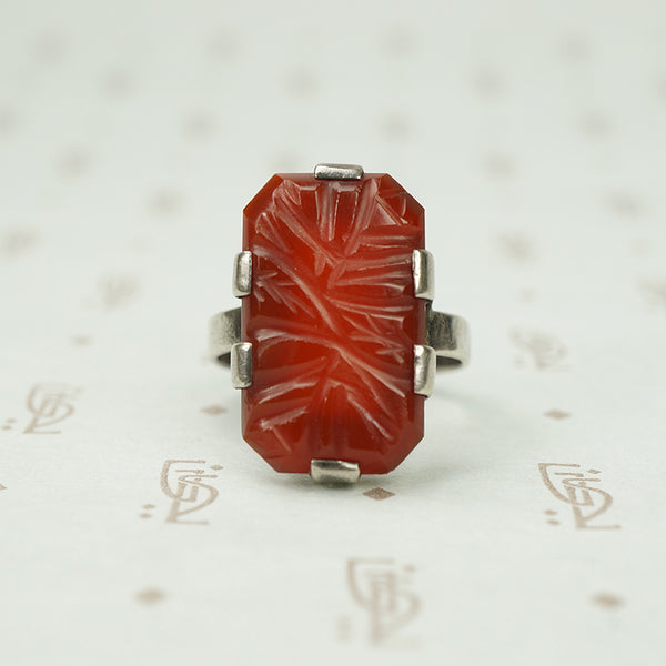 Art Deco Sterling Carved Carnelian Ring