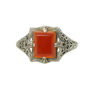 Vintage White Gold Filigree Ring with Carnelian