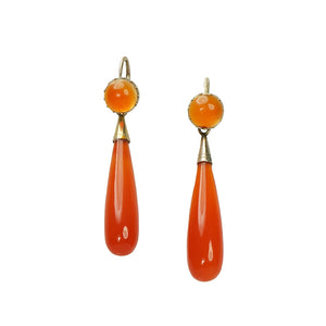 19th Century Carnelian Day and Night Earrings