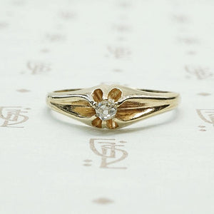 Victorian Buttercup Diamond Solitaire Ring