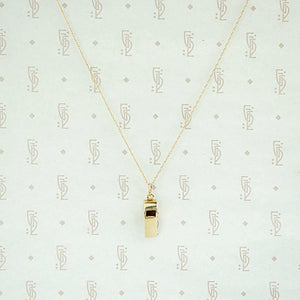 Bitty Working Whistle Gold Charm Necklace