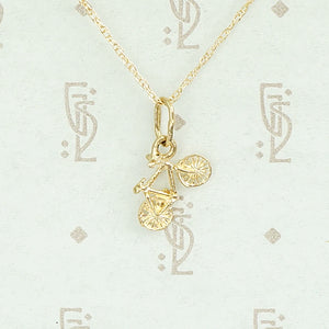 World's Smallest Bicycle Gold Charm Pendant